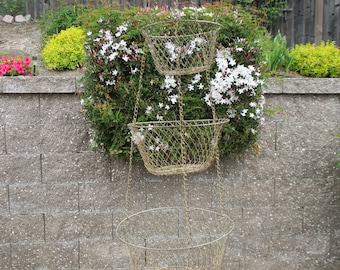 Hanging 3-Tier Wire Basket - Three Tier Hanging Metal Basket - Hanging Metal Basket