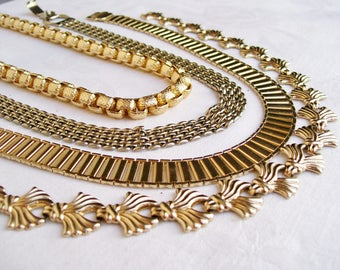 """Set of 4 GOLDTONE CHOKERS Mesh Fleur di Lis Textured Chain Sarah Coventry Egyptian Revival Necklace 15"""" - 16"""""""