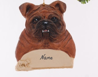 Red Brown Bull Dog Christmas Ornament - Personalized Bull Dog Ornament - Handmade and painted bull dog ornament - Personalized Free  (86)