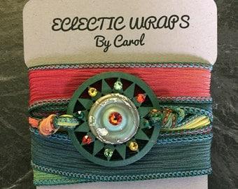 AN IRISH SUN...ribbon wrap.. sunburst..crystsls..wrap bracelet