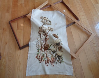Vintage Fall Floral Tapestry Panel, Hand Sewn Crewel stitched design in organic natural fall forest floor  colors with optional wooden frame