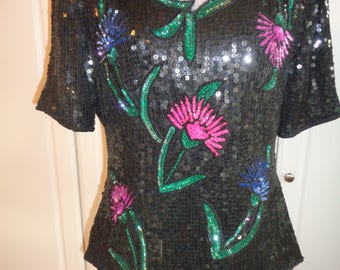 Vintage Floral Hand Beaded and Hand Sewn Black Sequin 100% Silk Top in Mint Condition, Size Woman's Large, Made in India - Dress up or Down