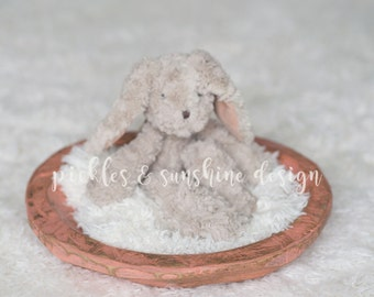Coral Pink SHALLOW Carved wood Newborn Photography posing bowl, Primitive look painted wood bowl/tray, newborn posing prop, sitter prop