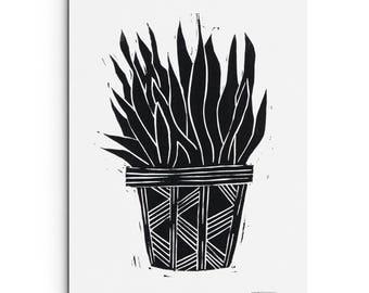 Potted Plant Illustration - Nature Print - Wall Art - Linocut Block Print - Original or Digital Print