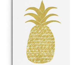 Pineapple with Fun Pattern Print - Tropical Print - Illustration -Food Print - Fruit Print - Linocut Block Print - Original or Digital Print