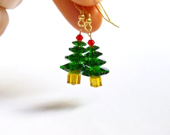 Christmas Tree Earrings, Genuine Swarovski Christmas Earrings, Stocking Stuffer For Her, Festive Gifts, UK Seller