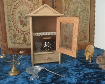 French vintage toy small wardrobe for doll  in wood around 1900 handmade cupboard