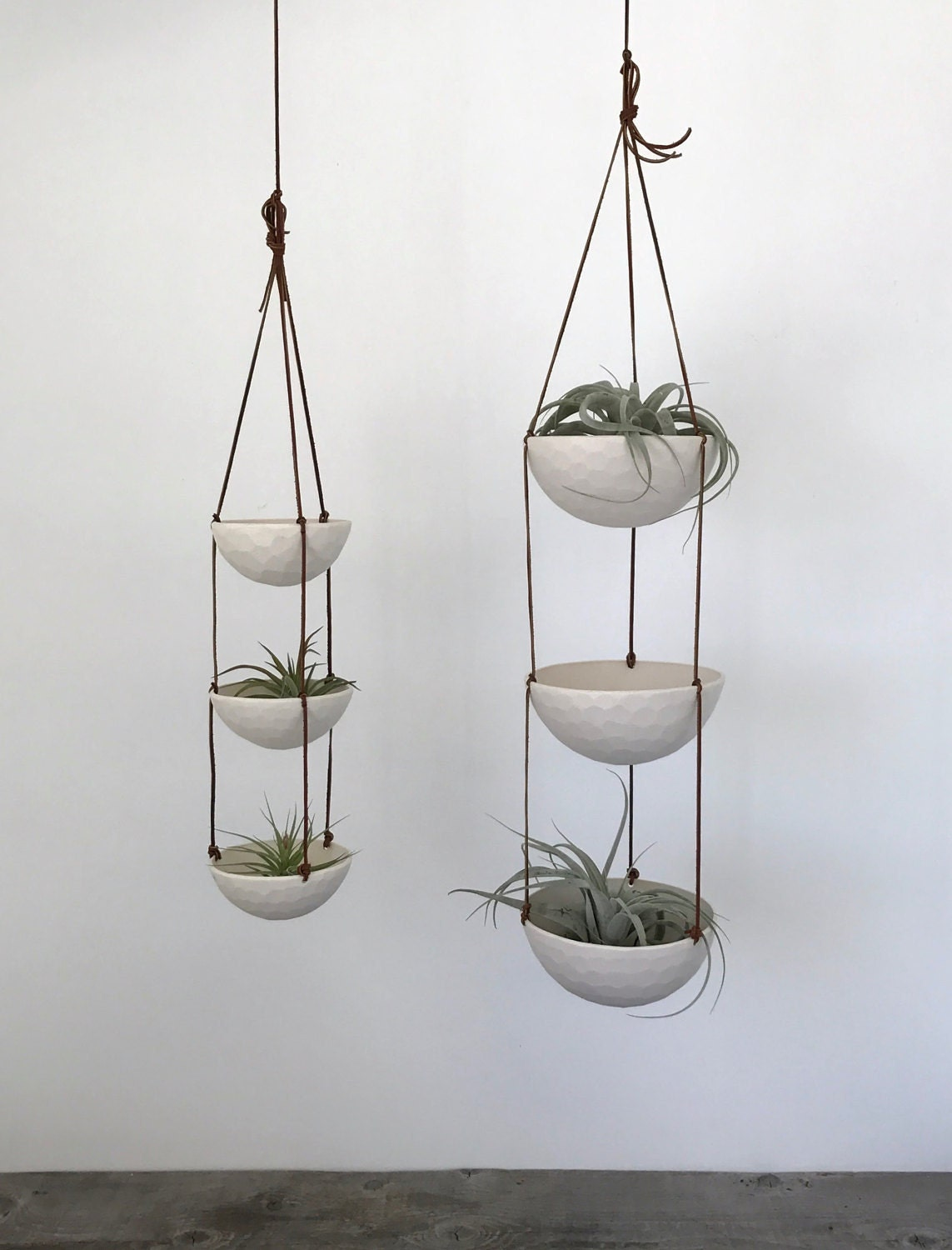 3 Tier Medium Bowl Hanging Succulent Planter, Geometric Faceted or Smooth finish, with Leather Cording
