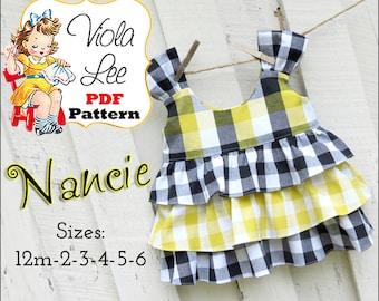 Nancie, Girl's Sewing Patterns, Girls Top Pattern, Ruffle Top Pattern, Wear with Ruffle Shorts, Toddler Sewing Patterns. pdf Sewing Patterns