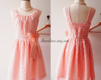Romantic Womens Dresses Pink Lace Dress Wedding Prom Reception Bridesmaid Party Dress Pink Summer Dress Vintage Sundress Tea Dress
