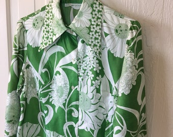 Vintage Mod 60s Tunic Alex Coleman Green White Floral Silk Medium Large S275