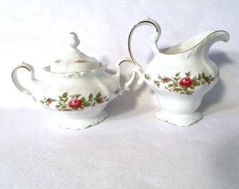 Johann Haviland Moss Rose Covered Sugar Bowl and Creamer, Traditions Fine China Backstamp