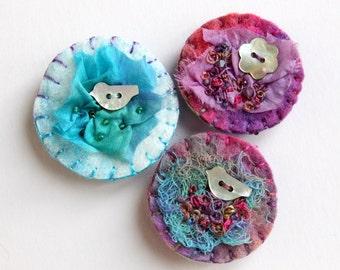 Embroidered Brooch Pins Handmade by PingWynny Blue Bird & Flower