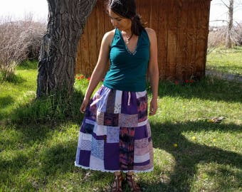 Amethyst Purple Patchwork Skirt