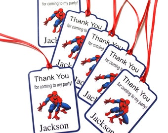 Set of 12 Thank You Party Favor Tags, Spiderman Personalized Birthday Party Favors Tags Thank You Gift Tags, Super Hero Party Supplies