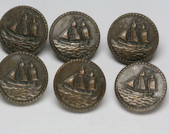 Buttons - 6pc Set of Vintage Sailing Ship Buttons