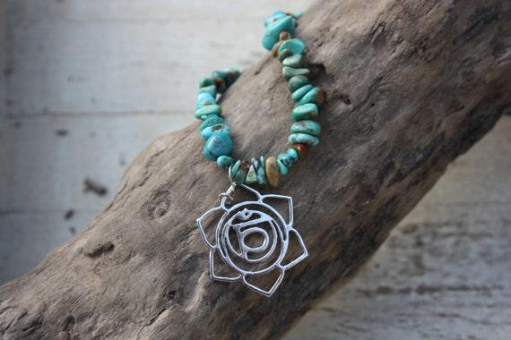 CHAKRA GEMSTONE NECKLACE - Turquoise Necklace- Gemstone Chip- Crystals- Reiki Necklace- Sacral Chakra- Mandala
