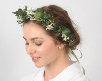 Leaf Crown Green Wedding Crown Greenery Headpiece Bridal Hair Piece Leaf Headband Woodland Halo Artificial Head Piece Rustic Hair Wreath