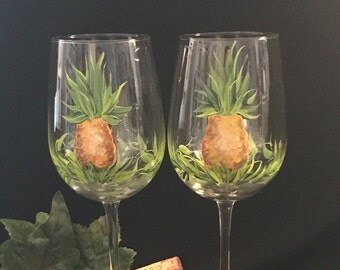 Pineapple pair of wine glasses hand painted