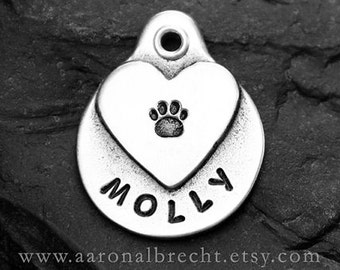 Heart Pet Tag Pet ID Tag Custom Dog Tags Love Wedding Pet Personalized Tags Hand Stamped Paw Print