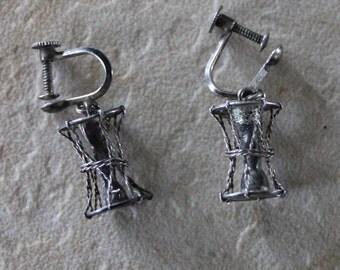 Antique Sterling Silver Screw Back Dangle Earrings