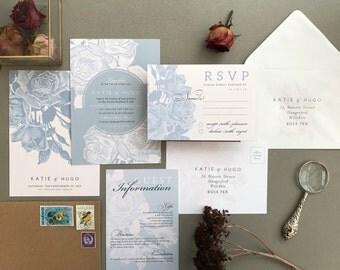 ETCHED ROSE | Vintage, Rustic Wedding Invitations, Wedding Invites, Wedding Invite, Blush and Rose Wedding Invitation Rustic - Sample Set