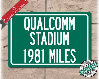 Personalized Highway Distance Sign To: Qualcomm Stadium, Home of the San Diego Chargers
