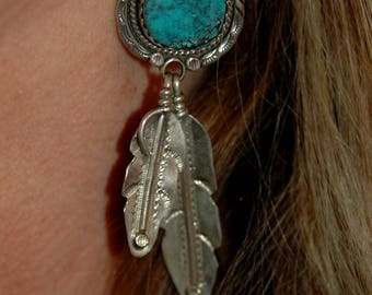 """The Best Vintage Navajo Edsitty Silversmith For Atkinson Trading Co Blue Diamond Turquoise Feather Earrings 3 1/2"""" Long 34 Grams"""
