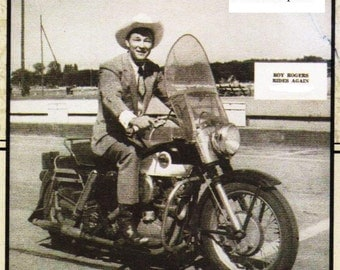 """Roy Rogers on Harley Davidson Motorcycle- 7 1/4"""" x 8 1/4"""""""