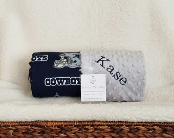Dallas cowboys baby etsy dallas cowboys baby blanket name embroidered nfl minky grey minky baby girl and boy negle Choice Image