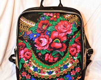 Travel Backpack Urban Backpack in flower Russian Floral fabric Backpack in Floral Gypsy flower print