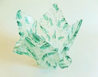 Large Sea Glass Green Fused Glass Vase - Ice Bucket - Sea Green Ice - Mid Century Style