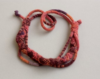 Unique orange brown necklace, OOAK knitted fiber jewelry