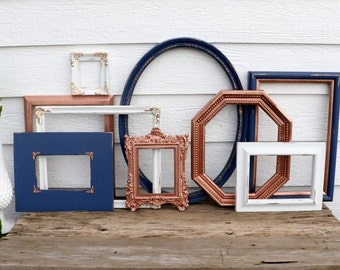 Set of 9 Open Frames - Navy, Copper, White - Wall Gallery - Nursery - Wedding - Vintage Frames - Lot Frame Set - Wall Grouping - Oval Frame