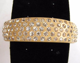 "Art Deco Bangle Bracelet Celluloid & Clear Rhinestones Weiss Style 2 3/4"" Vintage"