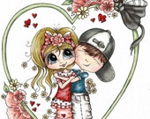 INSTANT DOWNLOAD Digital Digi Stamps Big Eye Big Head Dolls Bestie Scan0140 Your In My Heart Besties TM By Sherri Baldy