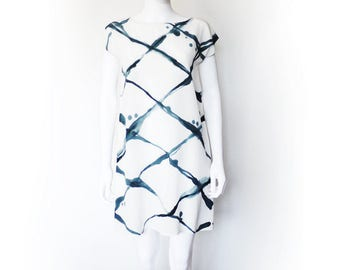 Hand painted silk dress.  pattern silk dress WIRE FENCE Made to order.