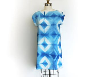 Silk Indigo Dress.  Shibori pattern silk dress DIAMOND *readymade*
