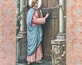 Lovely 1930's Prayer Card-Jesus Knocking on a Door