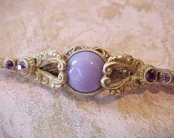 Beautiful Antique Czech Rococo Styled Brooch with Lilac and Amethyst Colored Stones