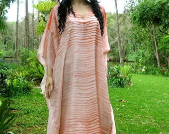 Long Silk Kaftan with Earthy Colors, Cover up, Summer Dress, Silkz design