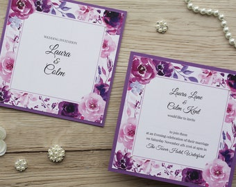 Sample Set of the Plum, Pink & Pearls Invitation Suite