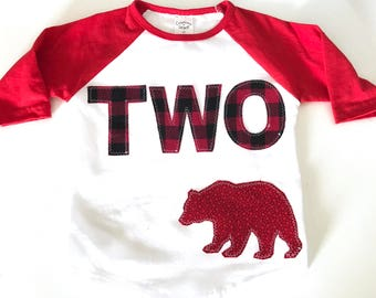 Lumberjack Second Birthday Shirt Red plaid raglan Birthday Boys Shirt two gift photo prop