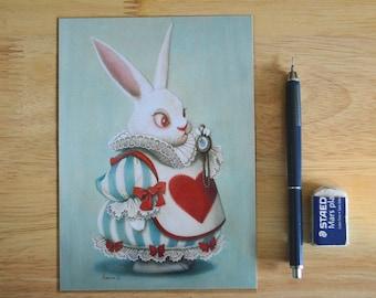 "White Rabbit in Alice Wonderland Illustration 5"" x 7"" Postcard"
