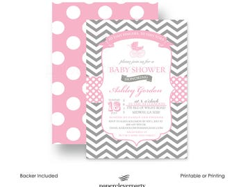 Pink Carriage Baby Shower Invitation Girls - Grey Chevron - Polka Dot - Invites Classic  - Typography - Printable - Printing - Personalized