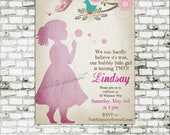 Bubbles Invitation - Blow Bubbles - Birthday Party Decor Pack - Pastel Pink - digital