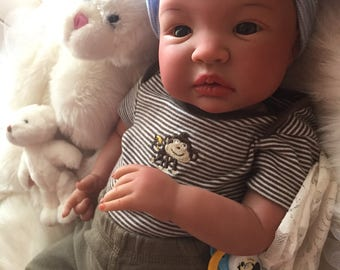 From the Biracial Shyann Kit  Reborn Baby Doll 19 inch Baby Boy Jonathan Complete Doll