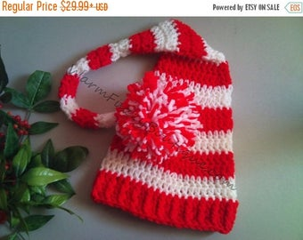SALE 20% OFF Baby Candy Cane Elf Long Tail Hat - U Choose Colors - Crochet Newborn Beanie Boy Girl Costume Christmas  Photo Prop Cap Outfit