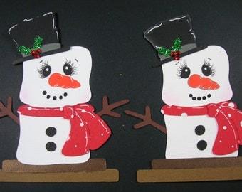 Smores Snowman Christmas Embellishment, Christmas tag, Paper Piecing. Set of 2