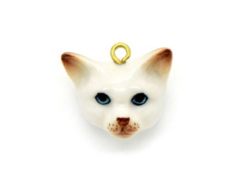 Tiny Porcelain Cat Head Pendant White Cat Hand Painted Porcelain Head Glass Kitten Charm Vintage Style Jewelry Supplies ()